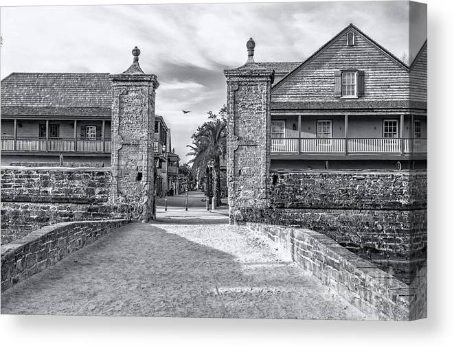 City Gates B&w Canvas Print featuring the photograph City Gates Black And White 2018 by C W Hooper