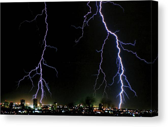 Arizona Canvas Print featuring the photograph City Lights by Cathy Franklin