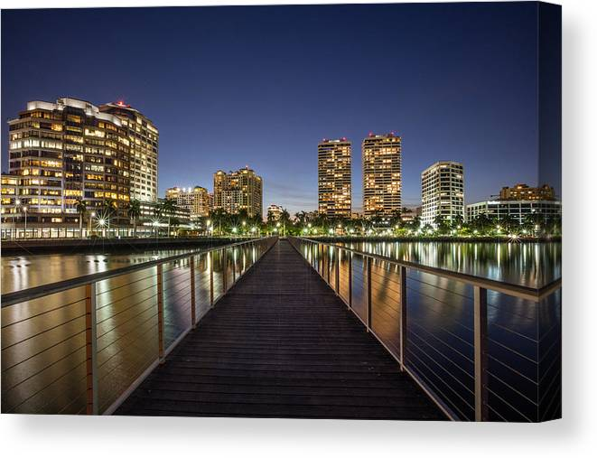 Boats Canvas Print featuring the photograph City Skyline by Debra and Dave Vanderlaan