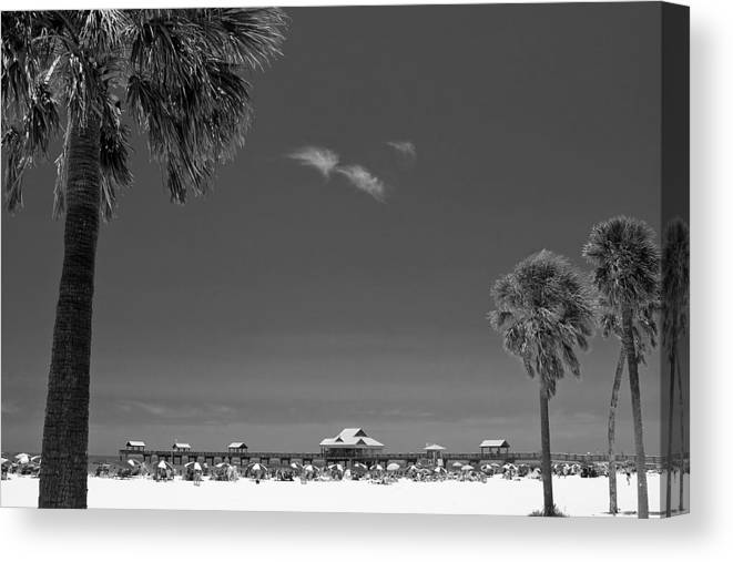 3scape Canvas Print featuring the photograph Clearwater Beach Bw by Adam Romanowicz