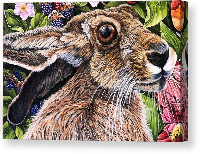 Hare Canvas Print featuring the painting Close Up Detail From Painting Celibration by Donald Dean
