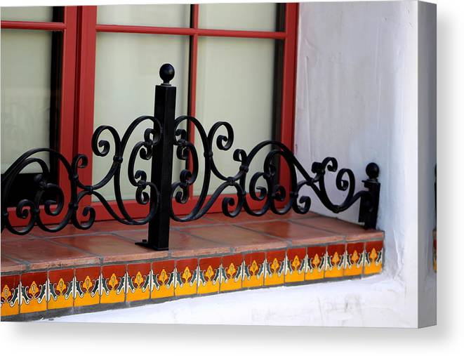Close Up Of Window Canvas Print featuring the photograph Closeup Of Window Decorated With Terracotta Tiles And Wrought Iron Photograph By Colleen by Colleen Cornelius