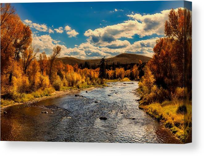Sky Canvas Print featuring the photograph Colorado River In Autumn by Mountain Dreams