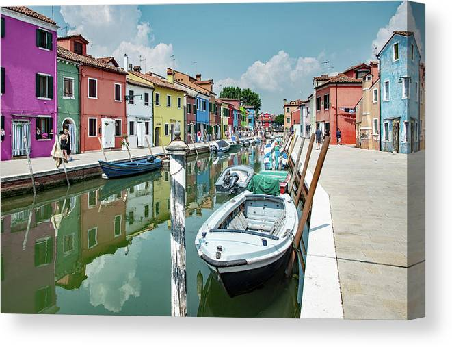 Burano Canvas Print featuring the photograph Colorful Homes Of Burano by Kent Sorensen