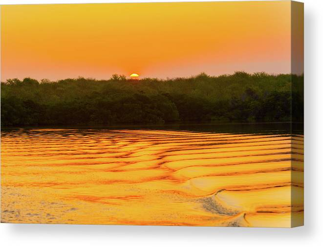 Colrful Canvas Print featuring the photograph Colorful Sunrise Over Island In Galapagos by Marek Poplawski
