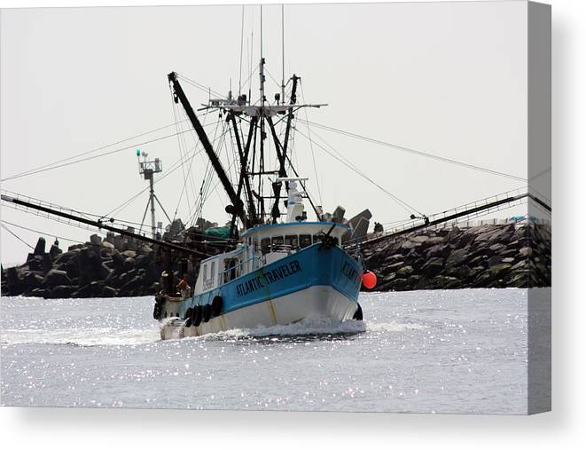 Fishing Trawler Canvas Print featuring the photograph Coming Home by Mary Haber