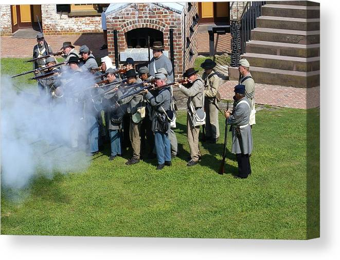 Civil War Canvas Print featuring the photograph Confederate Soldiers Fire by Rodger Whitney