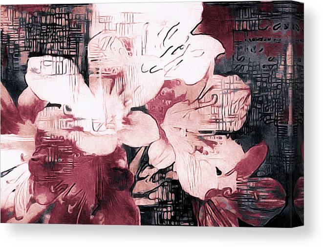 Contemporary Floral Canvas Print featuring the mixed media Cosmopolitan Chic by Susan Maxwell Schmidt