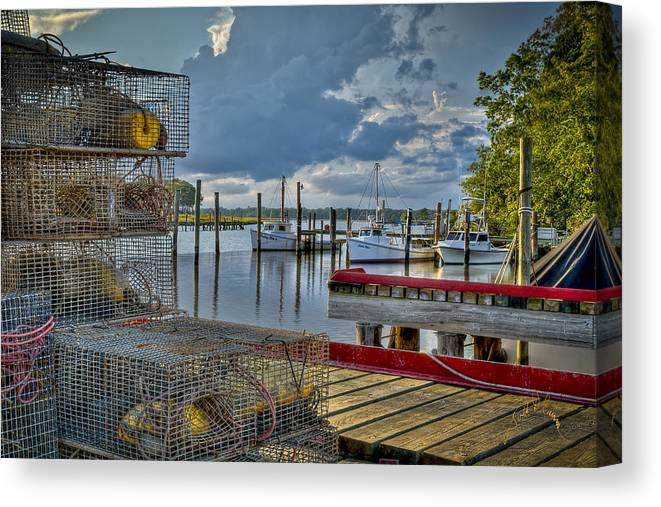 Rescue Canvas Print featuring the photograph Crabpots And Fishing Boats by Williams-Cairns Photography LLC