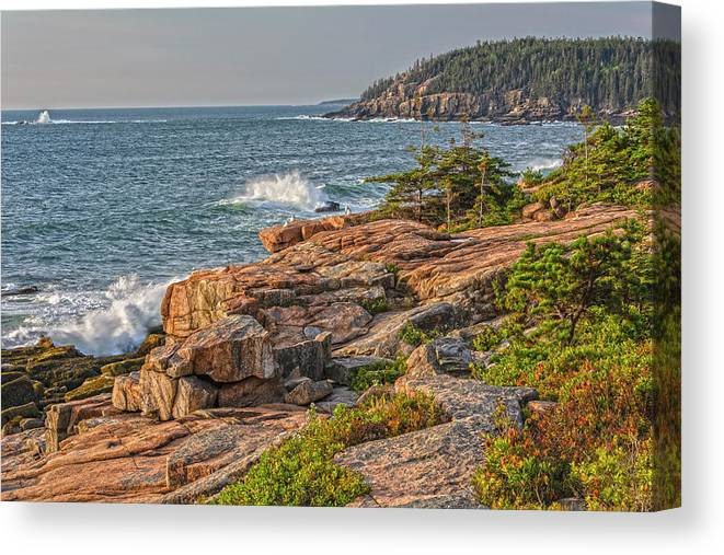 Seascapes Canvas Print featuring the photograph Crashing Waves At Otter Cliff by Angelo Marcialis
