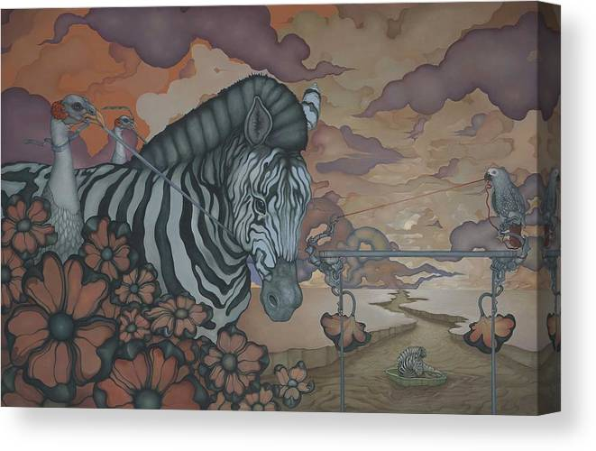 Zebra Canvas Print featuring the painting Crossing The Mara by Andrew Batcheller