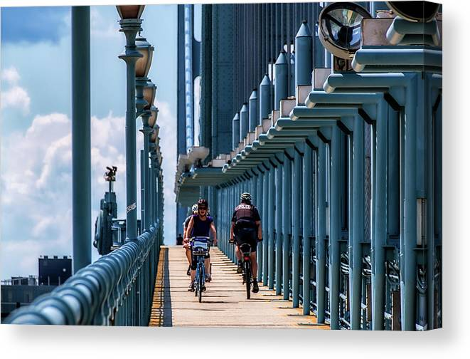Philly Canvas Print featuring the photograph Cycling The Bridge by Carol Ward