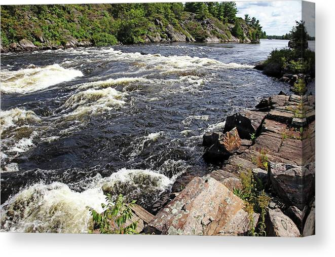 Dalles Rapids Canvas Print featuring the photograph Dalles Rapids French River I by Debbie Oppermann