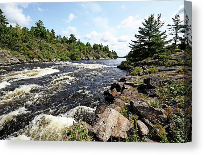 Dalles Rapids Canvas Print featuring the photograph Dalles Rapids French River Iv by Debbie Oppermann
