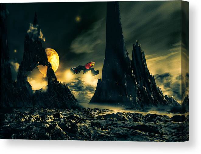 Science Fiction Canvas Print featuring the mixed media Dark Planet by Bob Orsillo