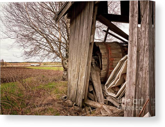 Copy Space Canvas Print featuring the photograph Debris In An Old Barn by Jukka Heinovirta