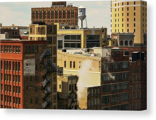 Skyscrapers Canvas Print featuring the photograph Detroit Steam City by Pauline Cze