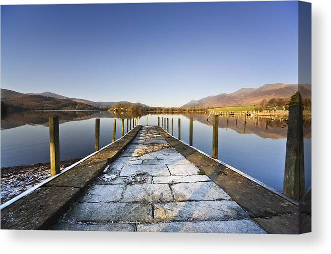 Color Canvas Print featuring the photograph Dock In A Lake, Cumbria, England by John Short