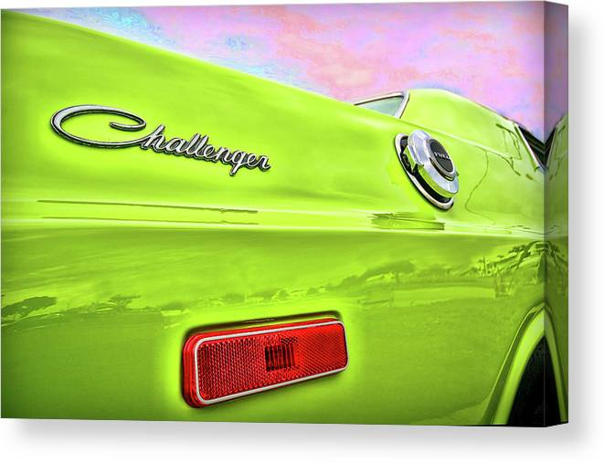 1972 Canvas Print featuring the photograph Dodge Challenger In Sublime Green by Gordon Dean II