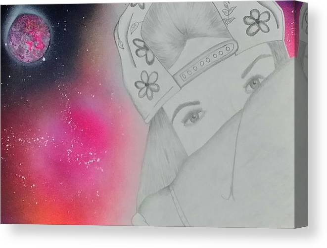 Girl Canvas Print featuring the drawing Dreamer by Jessica Gonzalez