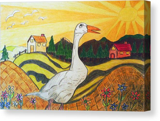 Duck Canvas Print featuring the painting Duck Season Could Be by Monica Engeler