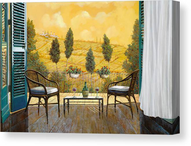Terrace Canvas Print featuring the painting due bicchieri di Chianti by Guido Borelli