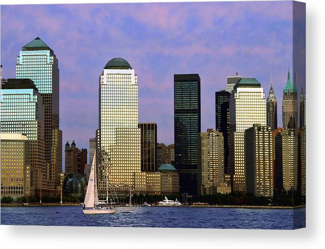 Architecture Canvas Print featuring the photograph Dusk On Lower Manhattan by June Marie Sobrito