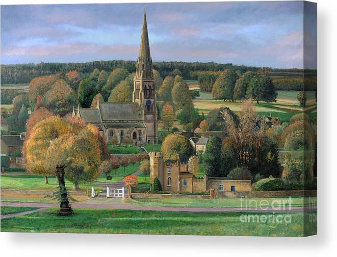 Peak District; Pig; Countryside; English Landscape; Architecture; Church; Village; Estate; Landscape; Chatsworth; Edensor; Chatsworth Park; Tree; Trees; Man Sitting On Bench Canvas Print featuring the painting Edensor - Chatsworth Park - Derbyshire by Trevor Neal