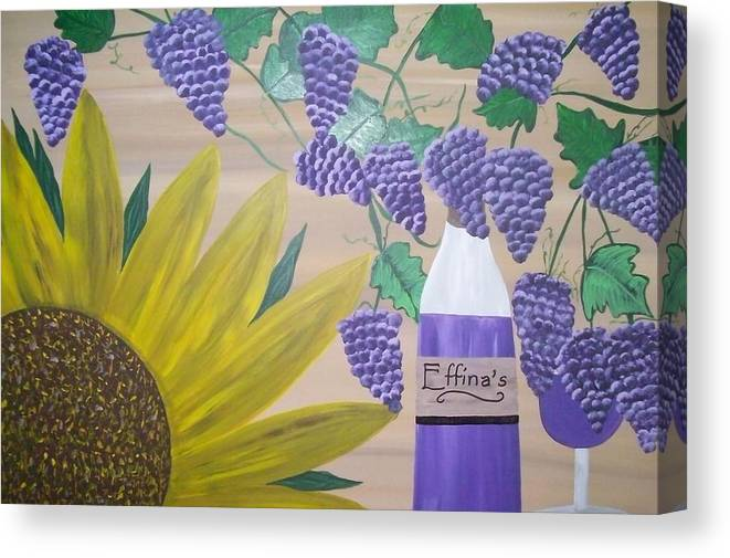 Sunflowers Canvas Print featuring the painting Effinas In Tuscany by Paula Ferguson