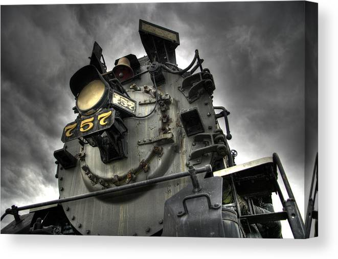 Hdr Canvas Print featuring the photograph Engine 757 by Scott Wyatt