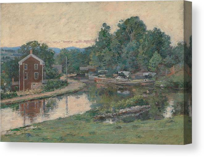 Theodore Robinson Canvas Print featuring the painting Evening At The Lock, Napanoch, New York 3 by Theodore Robinson