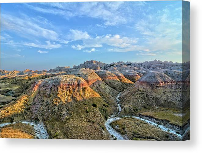 Badlands Canvas Print featuring the photograph Evening At Yellow Mounds 2 by Bonfire Photography