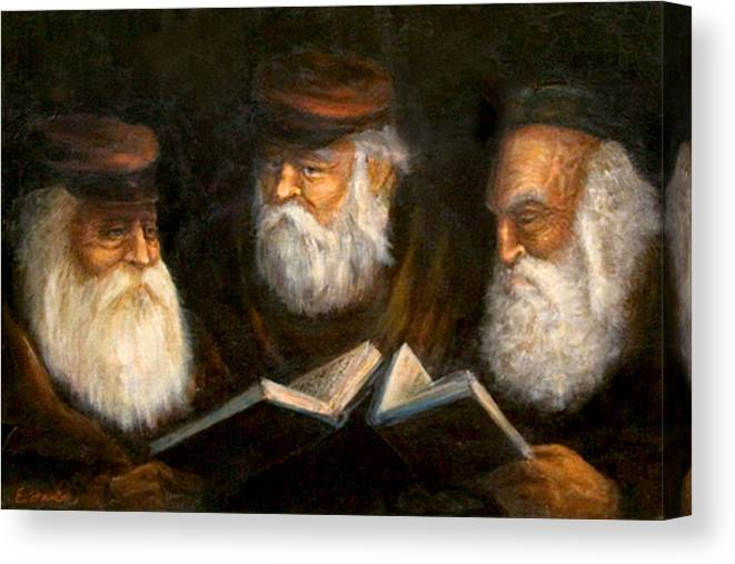 Praying Oldcountry Jewish  Men  Beards  Portraits  Books  Canvas Print featuring the painting Evening Prayers by Edward Farber