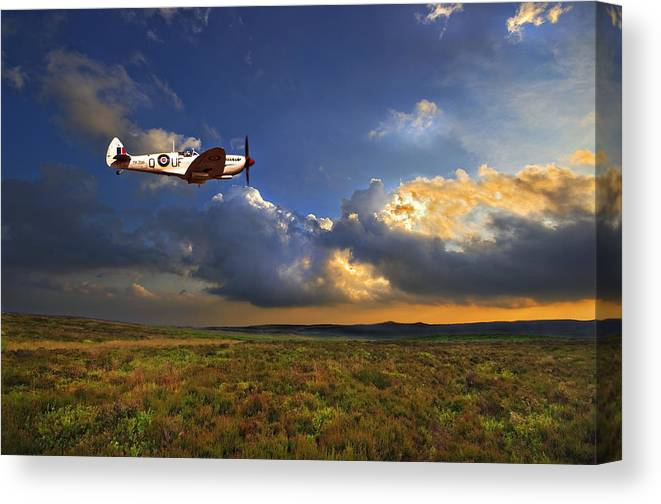 Spitfire Canvas Print featuring the photograph Evening Spitfire by Meirion Matthias