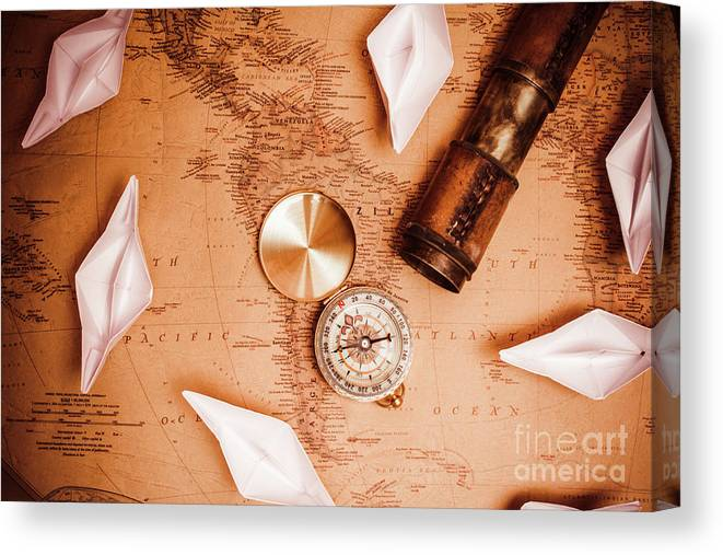Travel Canvas Print featuring the photograph Explorer Desk With Compass, Map And Spyglass by Jorgo Photography - Wall Art Gallery