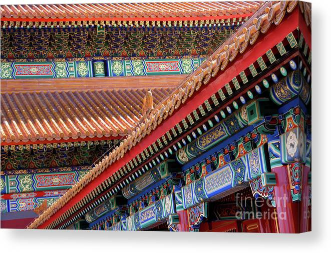 Architecture Canvas Print featuring the photograph Facade Painting Inside The Forbidden City In Beijing by Julia Hiebaum