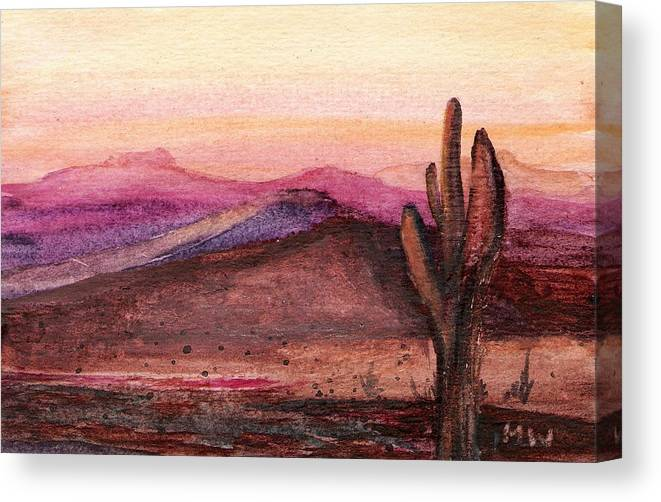 Desert Cactus Orange Pink Dusk Sunset Canvas Print featuring the painting Faithful Old Sentinel by Marsha Woods