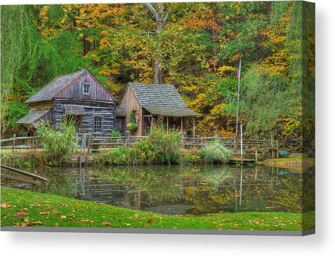Farm Canvas Print featuring the photograph Farm In Woods by William Jobes