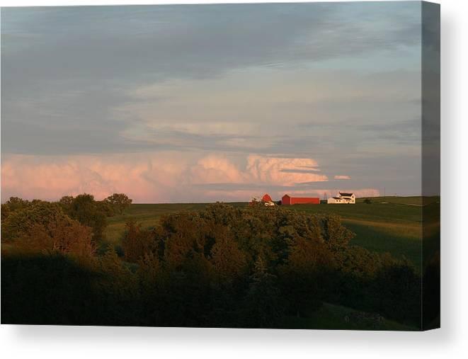 Iowa Farm Canvas Print featuring the photograph Farm by Linda Ostby