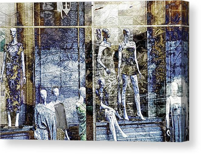 Digital Collage Canvas Print featuring the digital art Fashion by Jen Pezzo