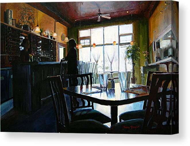 Restaurant Canvas Print featuring the painting Fat Olives by Jeanne Young