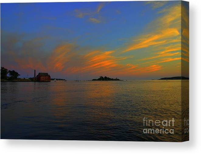 Canvas Print featuring the photograph Final Light Over Gloucester by Lennie Malvone