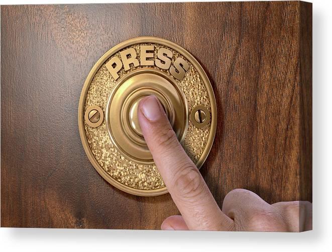 Finger Canvas Print featuring the digital art Finger Pressing Doorbell by Allan Swart