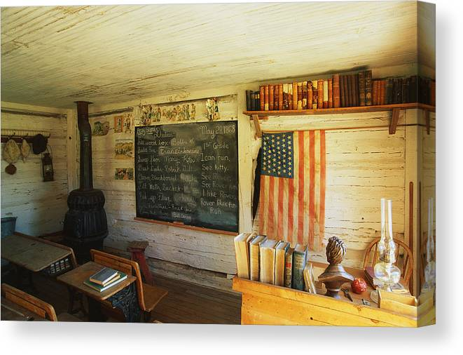 Photography Canvas Print featuring the photograph First School In Montana by Panoramic Images