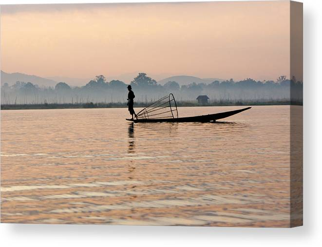 Asia Canvas Print featuring the photograph Fishing At Dawn by Michele Burgess