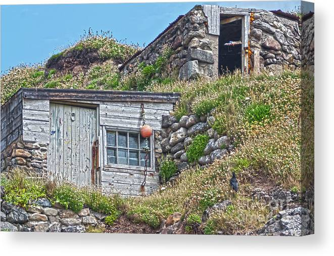 Huts Canvas Print featuring the photograph Fishing Huts Cape Cornwall by Terri Waters