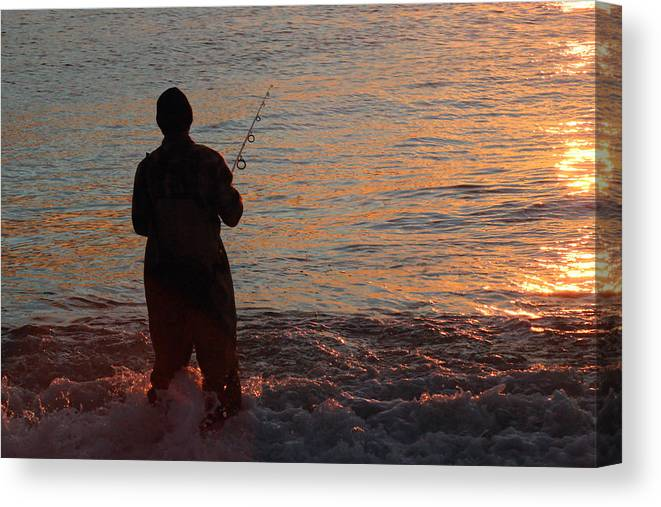 Fishing Canvas Print featuring the photograph Fishing Reflections by Mary Haber