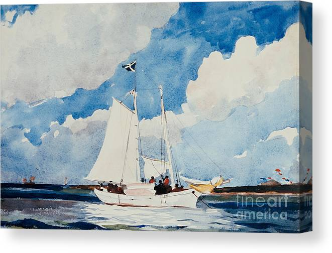 Boat Canvas Print featuring the painting Fishing Schooner In Nassau by Winslow Homer