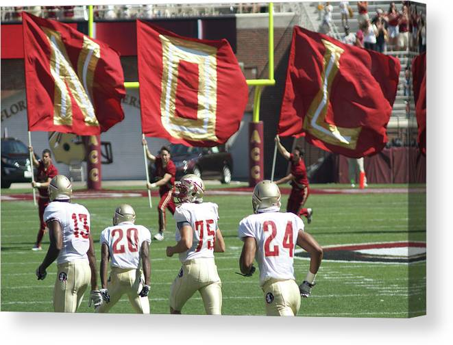 Flags Canvas Print featuring the photograph Flag Football by Allen Simmons
