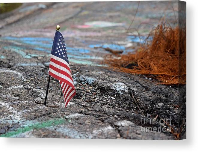 May Canvas Print featuring the photograph Flag In A Crack In The Pavement by Ben Schumin